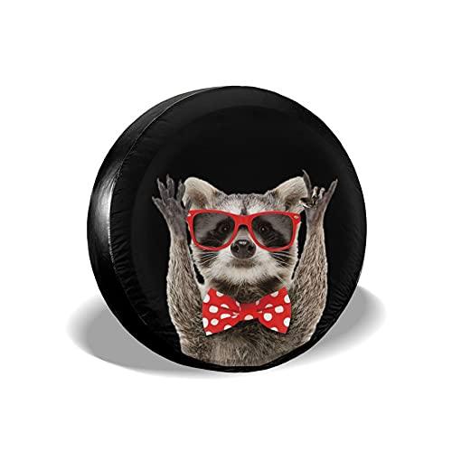 Hitamus Funny Raccoon Red Sunglasses Spare Tire Cover for Jeep Wrangler RV SUV Camper Travel Trailer Accessories 14 15 16 17 Inch Sunscreen Dustproof Wheel Cover