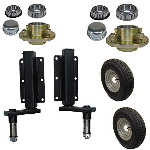 AB Tools Suspensión Remolque Unidad 350kg (par) y Colada Cubo Rueda y 400-8Ruedas 4' PCD