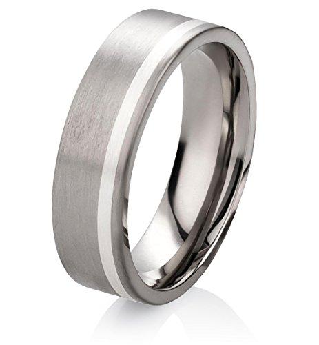 frencheis Titanringe Verlobungsring Ehering Trauring Hochzeitsring aus Titan mit 925 Silber und gratis Gravur T14H (57 (18.1))