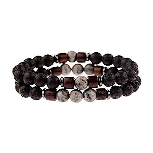 Pulsera de piedra hecha a mano, cuentas de piedra natural clásica, piedra volcánica con cuentas, para pareja, budismo, pulsera de cuentas de madera para hombres, unisex, accesorios de yoga, 383-S1-S2