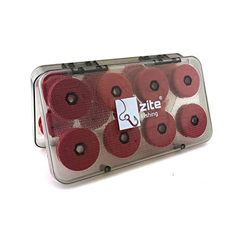 Zite Fishing Vorfach-Aufwickler-Box Angeln - 16 Schaumstoff Schnuraufwickler für Vorfächer & Rigs in Depot-Case