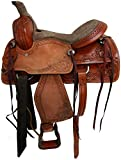 Blue Lake Premium Western Leather Barrel Racing Adult Horse Saddle Tack with Matching Leather Headstall + Breast Collar + Reins | Color :Brown-Grey | Size 15 Inches Seat Available