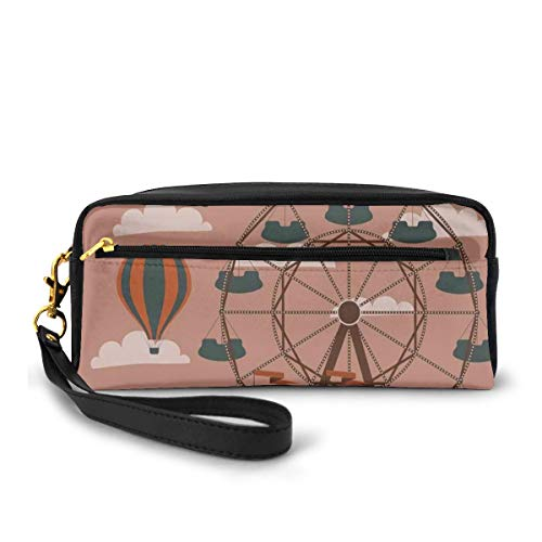 Pencil Case Pen Bag Pouch Stationary,Ferris Wheel Flying Hot Air Balloons Sky Clouds Fun Holiday Themed Illustration,Small Makeup Bag Coin Purse