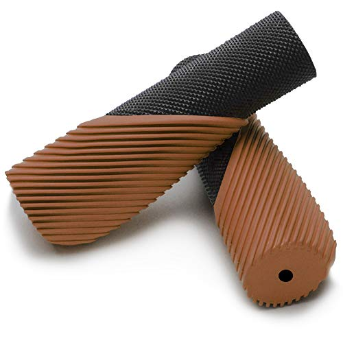 TOPCABIN Bike Grips,Ergonomic Design Two-Color Rubber Bicycle Handlebar Grips Widen Holding Surface Bicycle Grips with Comfortable MTB Bike Handlebar Grips for Road Bike (Brown-1 Pair)