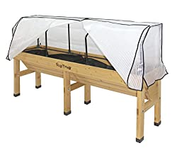 Salad table with protective covers.