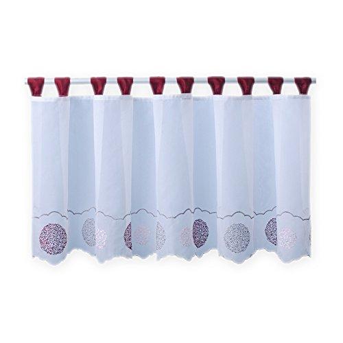Bistrogardine Punkte ca. 155x45 cm Cafehaus Gardine transparent Voile Fenstergardine Vorhang #1279 (Bordeaux)