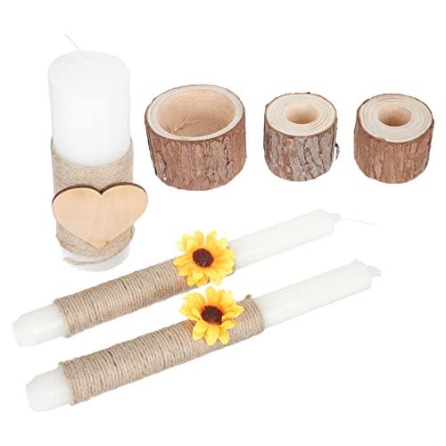 ibasenice 3 Set di Nozze Candele Candeliere in Legno del Supporto del Basamento Decorativa di Cerimonia Nuziale Candele Olio Essenziale...