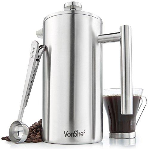 VonShef Doppelwandig warmhaltend Kaffeepresse aus gebürstetem Edelstahl für Filterkaffe für 12 Tassen – enthält Messlöffel und Verschlussclip