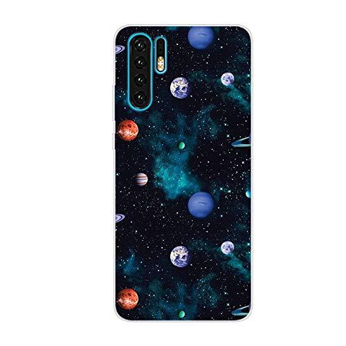 LeviDo Cover Compatibile per Huawei P30 PRO Silicone Morbida Trasparente Sottile Case Gomma Bumper Caso TPU Gel Paraurti Protettiva Antiurto, Pianeta