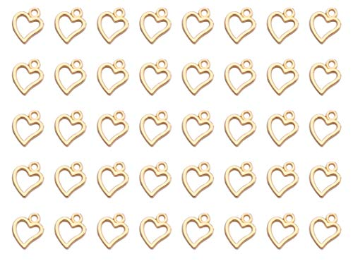 Ruwado 50 Pcs Hollow Heart Shape Charms Silver Metal Tiny Love Pendants for DIY Jewelry Finding Making Necklace Keychain Key Ring Bracelet Making Bulk (Gold)