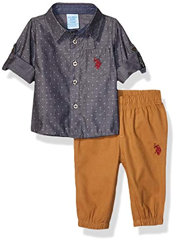 U.S. Polo Assn. Baby Boy's 2 Piece Woven Shirt and Jogger Set Pants, Grey Khaki Multi Plaid, 3-6 Months