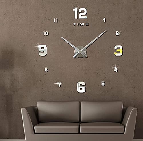 BBZZ Relojes de pared grandes silenciosos 3D, fáciles de leer, para salón, cocina, dormitorio, oficina, escuela, relojes de pared, sin marco, color plateado