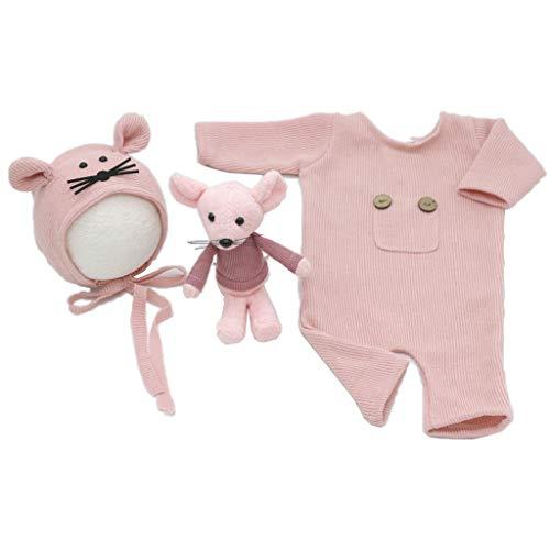KERDEJAR 3 unids/Set Accesorios de fotografía para recién Nacidos Traje de Mono de algodón Tejido Sombrero ratón muñeca Ropa para sesión de Fotos Infantil Trajes Rosa