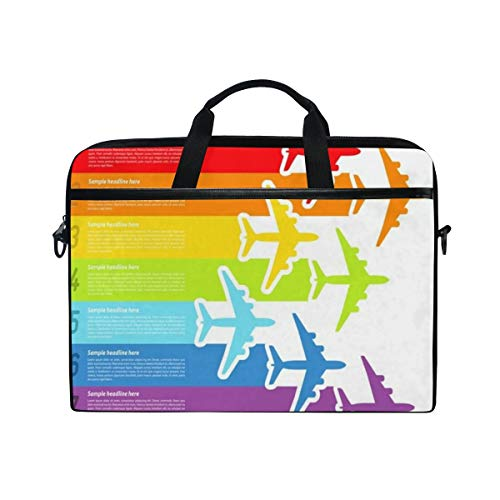 FOURFOOL 15-15.6 inch Laptop Bag,Travel Trip Fly Rainbow Airplanes Flight Commercial Airline Aviation Graphic Win,New Canvas Print Pattern Briefcase Laptop Shoulder Messenger Handbag Case Sleeve