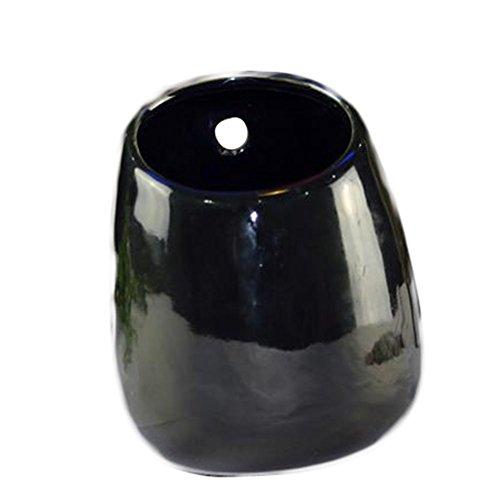 Gespout Pot de Fleurs Suspendu Céramique Noir Convient pour Jardin Intérieur Balcon Extérieur 10 * 7cm