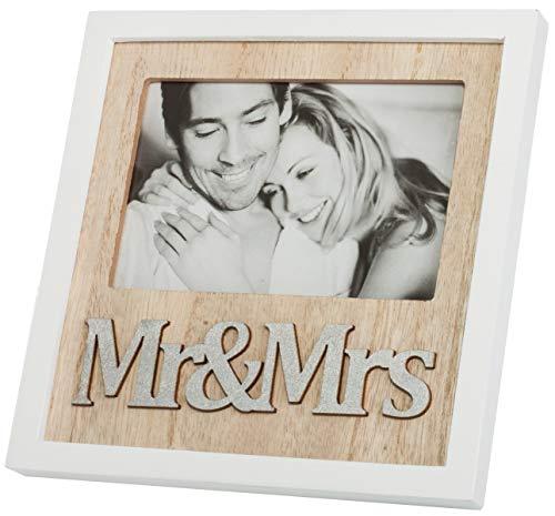 Brandsseller Holz-Bilderrahmen Fotorahmen 21 x 19 x 1,5 cm Mr&Mrs Weiß/Braun