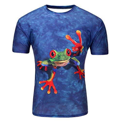 XJWDTX T-Shirt À Manches Courtes À Col Rond Imprimé Grenouille pour Hommes 3Dt
