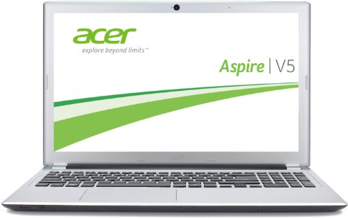 Acer Aspire V5-571G-53314G50Mass 39,6 cm (15,6 Zoll) Laptop (Intel Core i5-3317U, 1,7GHz, 4GB RAM, 500GB HDD, GT620M, DVD, Win 7 HP), silber