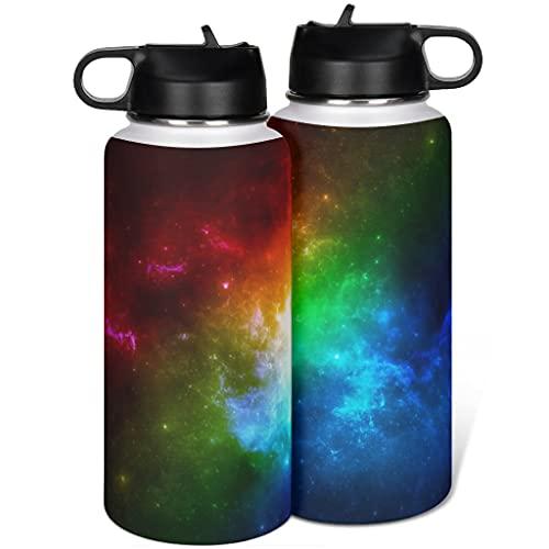 Botella de agua de acero inoxidable arco iris con tapa popote moderno para acampar blanco 1000ml (32 oz)