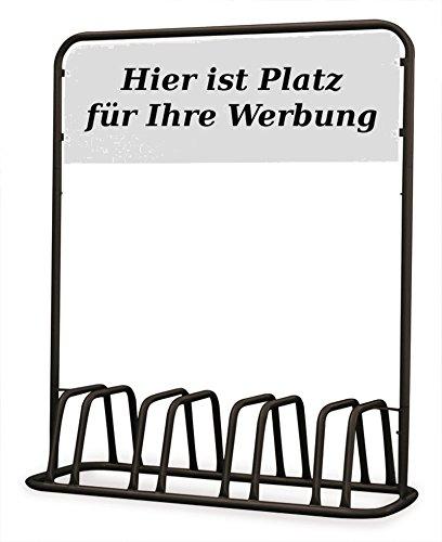 Euro Windkat 4er Fahrradständer mit Werbeschild (Schwarz)