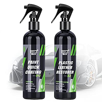 HGKJ Ceramic Coating for Cars, Polish Spray & PH Balanced Leather Cleaner Set, 2-in-1 Car Detail Fortify Quick Coat (Include 2 Items,10+10=20 oz)