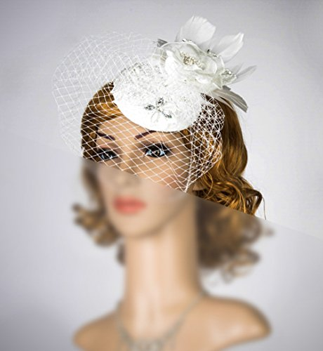 White Birdcage Veil Headband Russian Veiling Veil Fascinator Simple Fascinator With Veil Bridal Headpiece