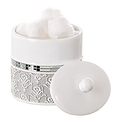 Creative Scents Mirror Damask Q Tip Holder, Decorative Canister Jar, Durable Resin Swab/Cotton Ball Holder/Container- Beautiful Bathroom Vanity Accessories- Elegant Bath Storage (Gray & White)