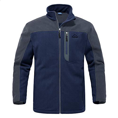 donhobo Outdoor Fleecejacken für Herren Weiche Atmungsaktive Full Zip Übergangsjacke Winter Warm Winddicht Polar Fleece Jacke (Marine, L)