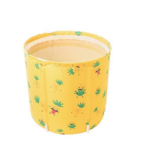 Verdikking Folding Bad Bad Barrel Adult Geel Ananas Smiley Draagbare Badkuip Rimpels Household Hot Tubs Barrels Volledige Grote bidet Kinderzwembad Badfaß Bucket,L