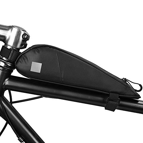 HGDM Bolsa Bicicleta Manillar, Impermeable Bolsa Bicicleta Tubo Frontal,Bolsa para Cuadro De Bicicleta,para Bicicletas MTB Bici De Carretera Bici Plegable Negro(0.6L),Accesorios para Bicicletas