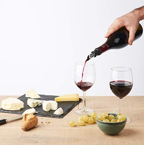 MASTRAD F28760 A Vin-Conserver & Servir-Bouchon Etanche-Verseur Anti-Goutte-Elegant-Coloris Noir Et INOX