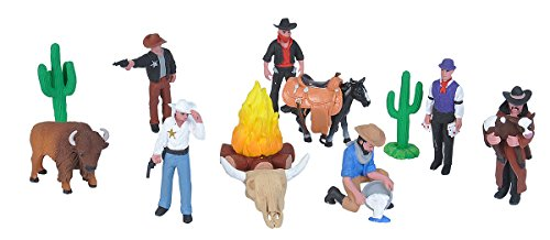 Wild Republic Figurines Tube, Cowboy Action Figures, Tenpiece West Set Kids Toys, Gifts for Boys, Wild West Figurines Tube (20817)