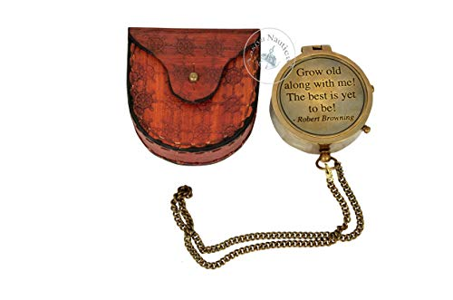 aasiya nautical Best git Brass Compass ON Chain with Leather CASE, Directional Magnetic Compass an