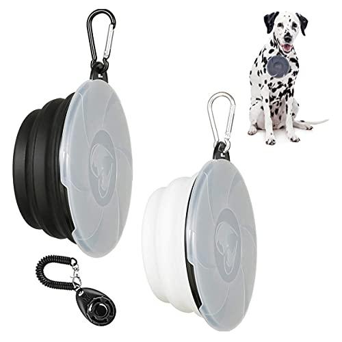 2 Stück Hundenäpfe Faltbare Reiseschale,Hundenapf Unterwegs mit Deckel und Haken,Hund Reisenäpfe Tragbar Silikon Auslaufsicher 450ml,Schwarz + Weiß+1 klick Training