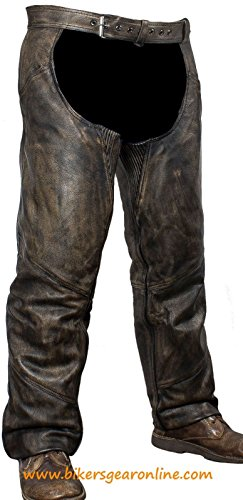 MEN'S MOTORCYCLE MOTORBIKE DISTRESSED BROWN LEATHER RIDING CHAP PANTS SOFT NEW (3XL Regular)