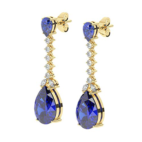 6.70ct Prong Set Round & Marquise Diamond & Pear Cut Blue Sapphire Stud Earrings in 18K Yellow Gold