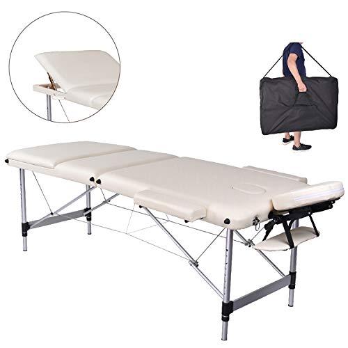 MC Star Massageliege 3 Zonen Aluminium Klappbar Tragbar Massagetisch Faltbar Leicht Deluxe Massage Bett Höhenverstellbar Spa Reiki Tattoo mit Armlehne Kopfstütze Tasche, Weiß