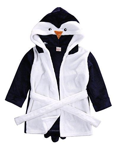 Glosun Baby Coral Fleece Bathrobe Toddler Kids Hooded Terry Robe Cartoon Animal Pajamas Sleepwear Bath Wrap (6-12 Months, Blue Penguin)