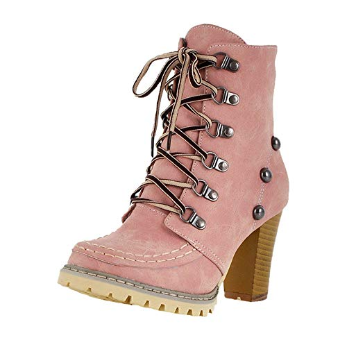Geili Damen Kurzschaft Schnürstiefeletten mit Blockabsatz Profilsohle Mode Verzierung Nieten High Heels Boots Frauen Übergrößen Warm Gefüttert Hoher Absatz Winterstiefel Stöckelschuh
