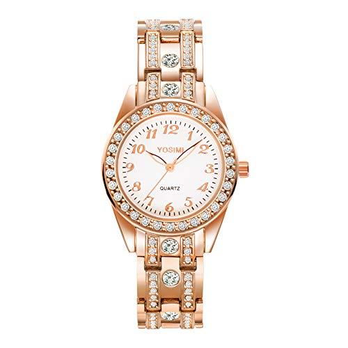 YOSIMI Damenuhr mit Analoganzeige und Armband Silber Luxuriöser Stil Römische Ziffern Runde Form mit Bling Kristallen und leuchtenden Händen Wasserdicht (rosa 2)
