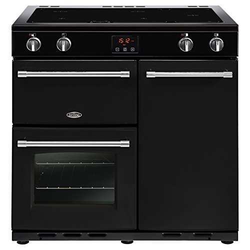 Belling Farmhouse 90Ei Range cooker with black induction zone - ovens and stoves (stove, black, rotating, touch, front, enamel, plate with induction zone)