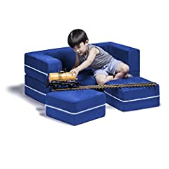 Multi-position foam loveseat for kids with matching ottomans that easily converts into a lounging platform or play table Filled with a safe and supportive polyurethane foam Soft and durable microsuede covers are both removable and machine-washable Di...