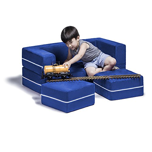 Jaxx Zipline Kids Modular Loveseat & Ottomans/Fold Out Lounger, Blueberry