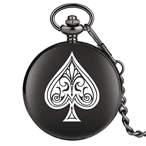Reloj de Bolsillo de Cuarzo con Tema de póquer, Reloj Colgante de Cazador Liso Negro, Cadena de Bolsillo, Reloj Retro, Regalos Unisex