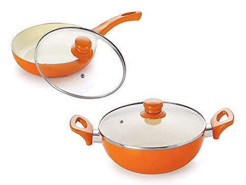 Nirlon Ceramic Induction Base Non-Stick Aluminium Cookware Set, 2-Pieces, Orange