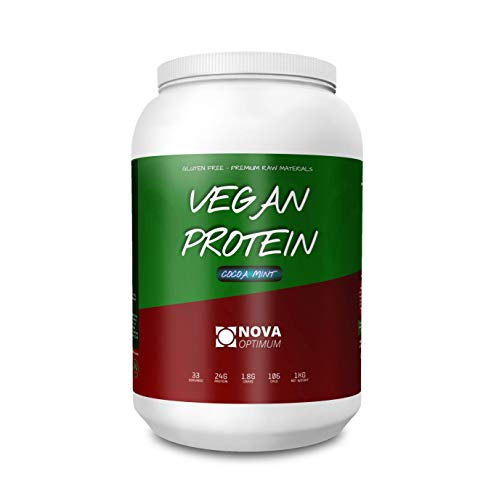 NOVA OPTIMUM Vegan Protein | Low Calorie Plant Based Protein | Gluten Free | 24g Protein | 1.8g Carbs | 106 Calories | 33 Servings | 1KG | (Cocoa Mint)