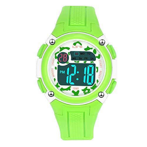 Reloj Deportivos para Niños Niño Niña Resistente al Agua Digital Impermeabl al Aire Libre LED Reloj Multifuncionales (Verde)