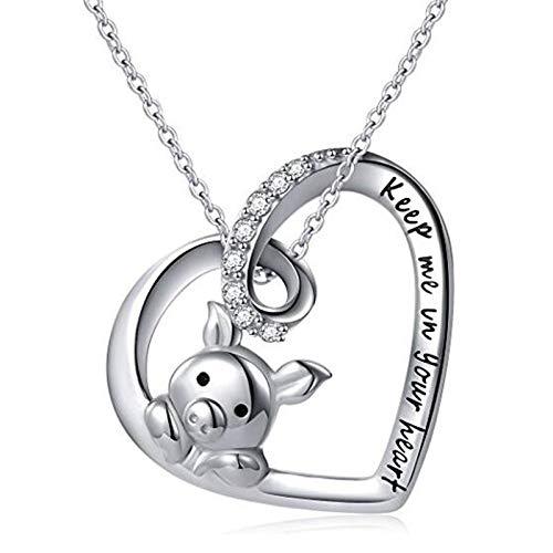 Kruis spiegel 925 sterling zilveren halsketting zoete varken hanger dames kerst sterrenbeeld varken liefde zirkonia sieraden