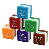 nbvmngjhjlkjlUK 6 Estilos/Set Kawaii Cute Teachers Stampers Inking Praise Reward Stamps Motivación Sticker School Supplies