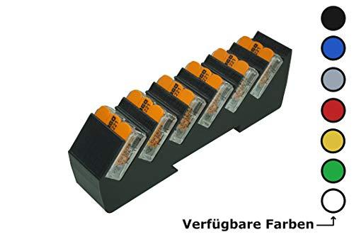 Din Rail Hutschienenhalter für 6x Wago Klemmen/lever clamps 221-412/413 (Wagoklemmen nicht im Lieferumfang!) (Schwarz)